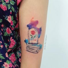 super creative book tattoo ideas © tattoo artist Jacke Michaelsen 💕📖🌹✨ 💕📖🌹✨ 💕📖🌹✨ 💕 beauty and the beast tattoo Awe-inspiring Book Tattoos for Literature Lovers Disney Tattoos Small, Cute Small Tattoos, Unique Tattoos, Beautiful Tattoos, Tattoo Disney, Disney Tattoo Sleeves, Disney Princess Tattoo, Trendy Tattoos, Wolf Tattoos