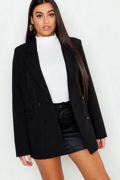 Womens Plus Oversized Double Breasted Blazer - black - 18 Style Sportif, Blazer Vest, Plastic Raincoat, Oversized Blazer, Double Breasted Blazer, Padded Jacket, Black Blazers, Pop Fashion, Fashion Online
