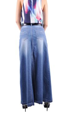 Style J Blue Cinderella Long Jean Skirt-26(6)
