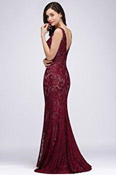 16e2d965288cb Shoppen Sie MisShow- Damen Elegant Spitze Ballkleid Meerjungfrau Kleid Prom  dress Lace Lang Wein Rot