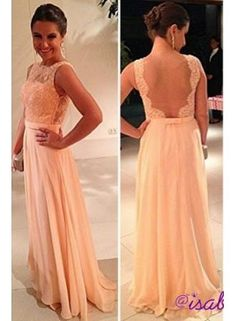 2014 vestido de dama de honra New Fashion Wedding Party Gowns Chiffon Nude Back Lace Peach Long Prom Dresses BO3396