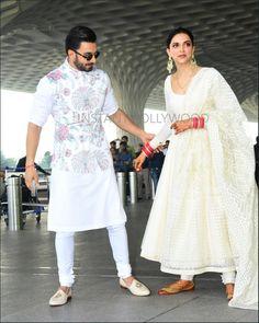 Deepika Padukone with Ranveer Singh 👰🤵❤😍😘 Mens Indian Wear, Indian Groom Wear, Indian Men Fashion, Mens Fashion Suits, Men Ethnic Wear India, Party Wear Indian Dresses, Wedding Dresses Men Indian, Wedding Dress Men, Indian Outfits