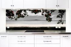 'Kohi Paradise' printed image on glass kitchen splashback