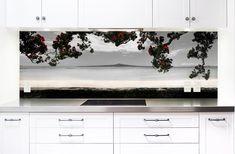 'Kohi Paradise' printed image on glass kitchen splashback