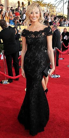 Stacy Keibler Bateau Short Sleeves Mermaid Brush Train Evening Dresses at Screen Actors Guild Awards