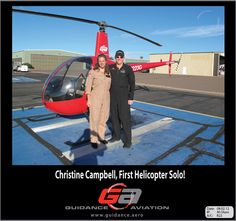 Christine Campbell, helicopter flight training student at Guidance Aviation, FIRST SOLO!   http://guidanceaviation.blogspot.com/2012/08/christine-campbell-helicopter-flight.html