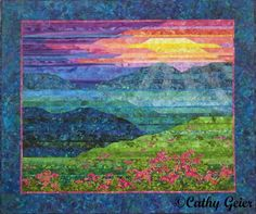 Cathy Geier's Quilty Art Blog: Making Blue Ridge Mountain Sunset