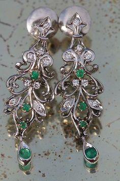 Vintage 925 Sterling Silver White Gold Genuine Diamond Emerald Drop Earrings   eBay