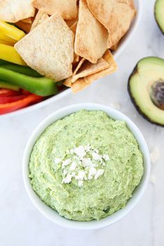 Easy Avocado Feta Dip on www.twopeasandtheirpod.com Perfect for parties or snacking!