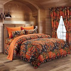 The Woods Orange Camouflage Full 8pc Premium Luxury Comforter, Sheet, Pillowcases, and Bed Skirt Set by Regal Comfort Camo Bedding Set For Hunters Cabin or Rustic Lodge Teens Boys and Girls