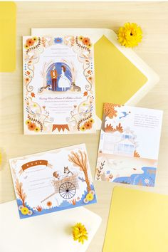 July 2015 Blog Post. We love these fall wedding invitations that celebrate the rustic farm Courtney and Matthew are getting married on. Illustration by Sarah Andreacchio for Jolly Edition designs.