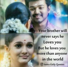 Tag-mention-share with your Brother and Sister 💙💚💛👍 Bro And Sis Quotes, Brother N Sister Quotes, Brother And Sister Relationship, Sister Love, Sisters Images, Actor Quotes, Tamil Love Quotes, Personality Quotes, Morning Inspirational Quotes