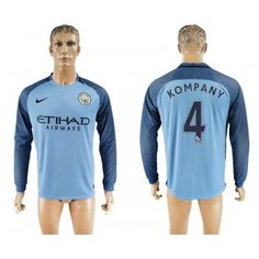 Manchester City 16-17 Vincent Kompany 4 Hemmatröja Långärmad  #Fotbollströjor