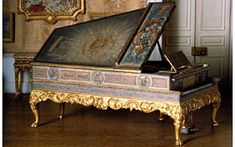 Queen Mary's Dollhouse - The grand piano with painted decoration by Thomas Matthews Rooke
