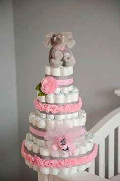 Elefante manualidades para Baby Shower de niña pastel de pañales