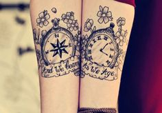 Compass and Watch Matching Tattoos - 70  Lovely Matching Tattoos  <3 <3
