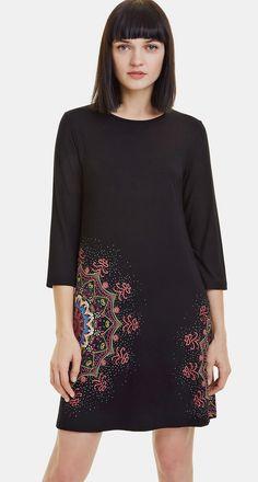 Desigual black dress Vest Mara with mandalsas Cold Shoulder Dress, Tunic Tops, Dress Vest, Black, Women, Ebay, Products, Fashion, Moda