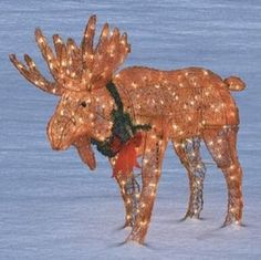 Lighted Moose Christmas Yard Decoration