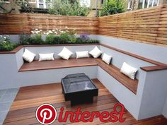 like the contrast in colours like the fencing the corner seating area as a concept think you could do a better fire pit thoughThe modern wooden garden bench fits any garden situationAn eco-friendly roofing is typically a roof that is actually describ Home And Garden, Outdoor Decor, Small Backyard, Garden Seating Area, Wooden Garden, Patio Design, Modern Garden, Corner Seating, Wooden Garden Benches