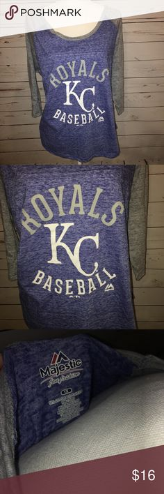 KC Royals baseball burnout style 3/4 sleeve tee Kansas City royals baseball tee. Burnout style. Quarter sleeve. Majestic brand. Size 1x. Majestic Tops