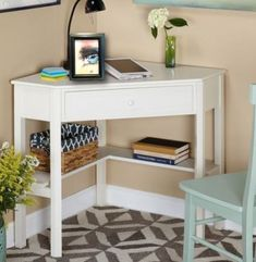 Target Marketing Systems Corner Writing Desk Antique White - Diy Bedroom Ideas For Small Rooms Corner Writing Desk, Small Corner Desk, Corner Table, Writing Table, Corner Vanity Table, Corner Makeup Vanity, Corner Seating, Corner Space, Corner Office