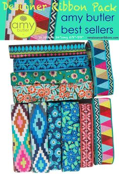 """Designer Ribbon Pack - Amy Butler Best Selling 7/8"""" & 5/8""""from a few collections coordinated to Amy's fabric designs- Spirit weave, Camellias, Sari Petals, Mosaics,Filigre 12 ribbons"""