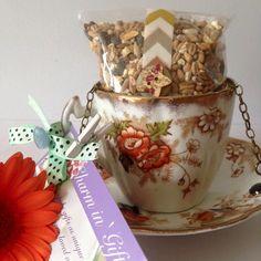 Tea Cup bird feeder vintage Clifton China Orange by Charmingifts