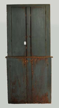 old red primative cupbaords | Primitive Blue Over Red Painted Cupboard : Lot 162