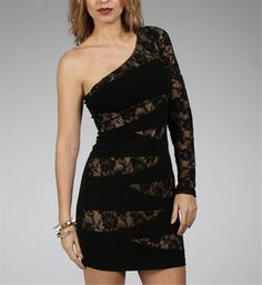 Black/Nude Lace One Shoulder Dresses. Obssessed with lace dresses