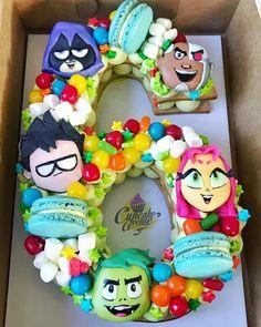 Teen titans go cookiecake Number Birthday Cakes, Number Cakes, Birthday Cake Girls, Geek Birthday, Frozen Themed Birthday Party, 6th Birthday Parties, Teen Titans Go, Bolo Barbie, Monogram Cake