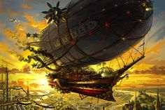 Steampunk zeppelin - Illustration by Nikolay Korolev Chat Steampunk, Steampunk Ship, Arte Steampunk, Steampunk Artwork, Steampunk Design, Steampunk Costume, Steampunk Fashion, Steampunk Gadgets, Zeppelin