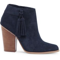 a748f88b5b2d Sole Society Talisha Tassel Heeled Bootie Navy Blue Ankle Boots