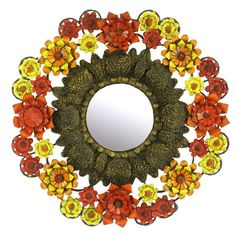 Artes De Mexico Mirror with Red, Yellow and Orange Tole Flower Surround | From a unique collection of antique and modern wall mirrors at https://www.1stdibs.com/furniture/mirrors/wall-mirrors/