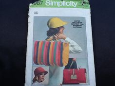Simplicity pattern 7987. Vintage uncut 1977 top-stitched hat has peak and elasticized back, and bags with contrast detail. by Stitchandzip on Etsy