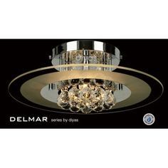 Diyas Delmar 4 Light Crystal Flush Ceiling Droplets Polished Chrome Finish IL30021