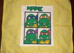 Mantel individual de las tortugas nunca bordado en punto de cruz