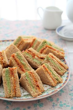 Coriander and tomato chutney tea sandwiches
