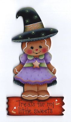 GINGERBREAD Witch Treats for my little sweets - Handpainted by Pamela House