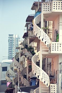 Spiral Stairs At Back Alley,Singapore.