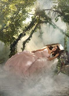 Disney Fairy Tale Weddings by Alfred Angelo 2012 bridal collection - Sleeping Beauty gently draped asymmetric organza fit and flare gown, metallic embroidered waist motif with self fabric rose inspired flowers. Shown in Rose, also available in Ivory and White.