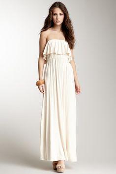Frenzii Strapless Ruffle Maxi Dress