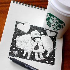 sheep with child, drawing by tokomo-shintani Illustrations, Illustration Art, Starbucks, 3d Sketch, Anamorphic, Magazine Art, Sheep, Graffiti, Whimsical