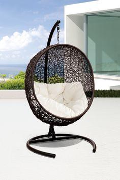 California Modern Classics  Cocoon Wicker Rattan Swing Chair - Espresso/White  $839.00 $1,200.00  30% off