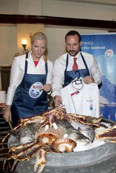 Crown Prince Haakon and Crown Princess Mette-Marit of Norway take part in a Norwegian seafood promotion master class in Jarkarta during an official 3-day visit on 26 Nov 2012