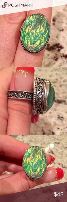 Created Opal ring Stamped 925. A beautiful statement piece! Created Opal stone. Jewelry Rings