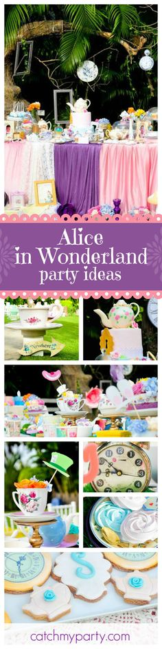 This Vintage Alice in Wonderland Tea Party 1st Birthday is beautiful. Love the teacup centerpieces! See more party ideas and share yours at CatchMyParty.com