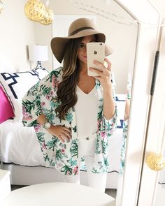 tropical print kimono... perfect for traveling! I also always get cold in restaurants so it's perfect to throw on over your outfit