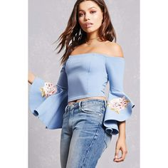Forever21 Embroidered Bell Sleeve Top ($28) ❤ liked on Polyvore featuring tops, denim, blue crop top, embroidered top, long-sleeve crop tops, flared sleeve top and blue top