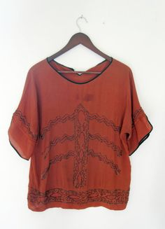 1920s Orange Silk Beaded Blouse by romanticizeVintage on Etsy, $60.00