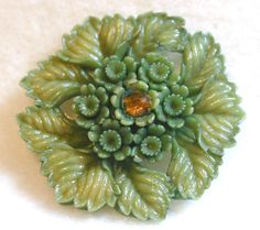 Beautiful antique mossy green leaf & flower button --Sold for $21/3.